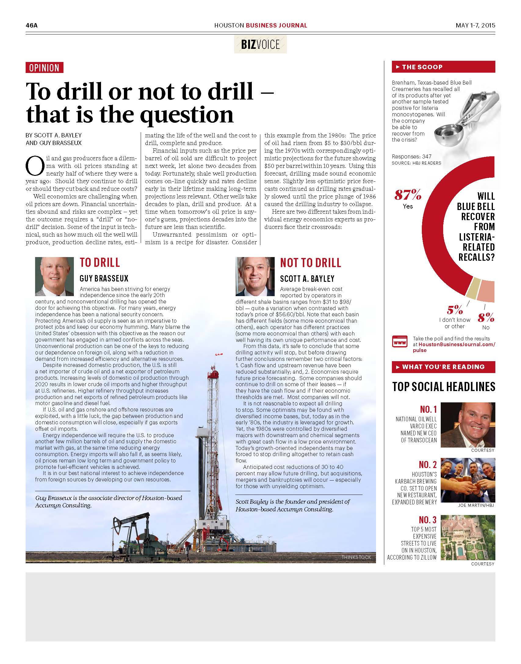 To drill or not to drill that is the questions by Scott Bayley and Guy Brasseux, May 1-7 2015 reduce