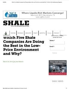 Which Five Shale Companies Are Doing the Best in the Low Price Environment and Why SHALE Oil and Gas Business Magazine